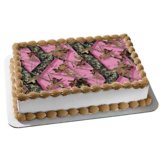Mossy Oak Break Up Pink Camo Edible Cake Topper Image Walmart Com Walmart Com