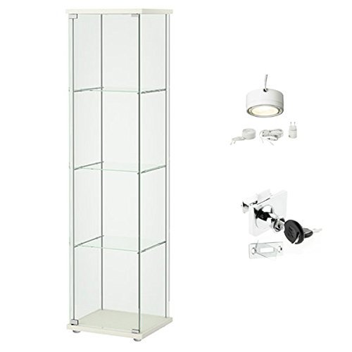 ikea detolf glass curio display cabinet white lockable light and lock included