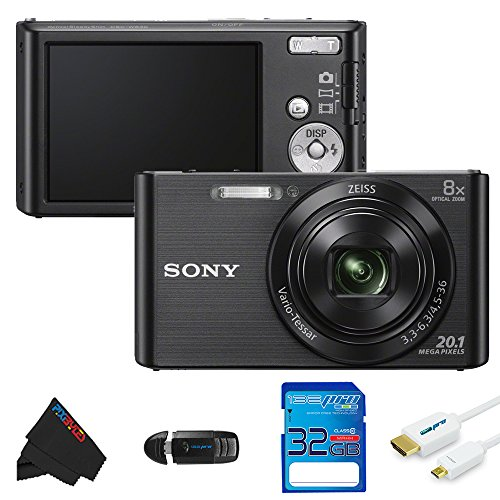 Sony DSCW830/B 20.1 MP Digital Camera with 2.7-Inch LCD + 32GB Pixi-Basic Accessory Bundle