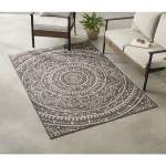 Mainstays Gray Global Medallion Indoor Outdoor Area Rug 5 X7 Olefin Walmart Com Walmart Com