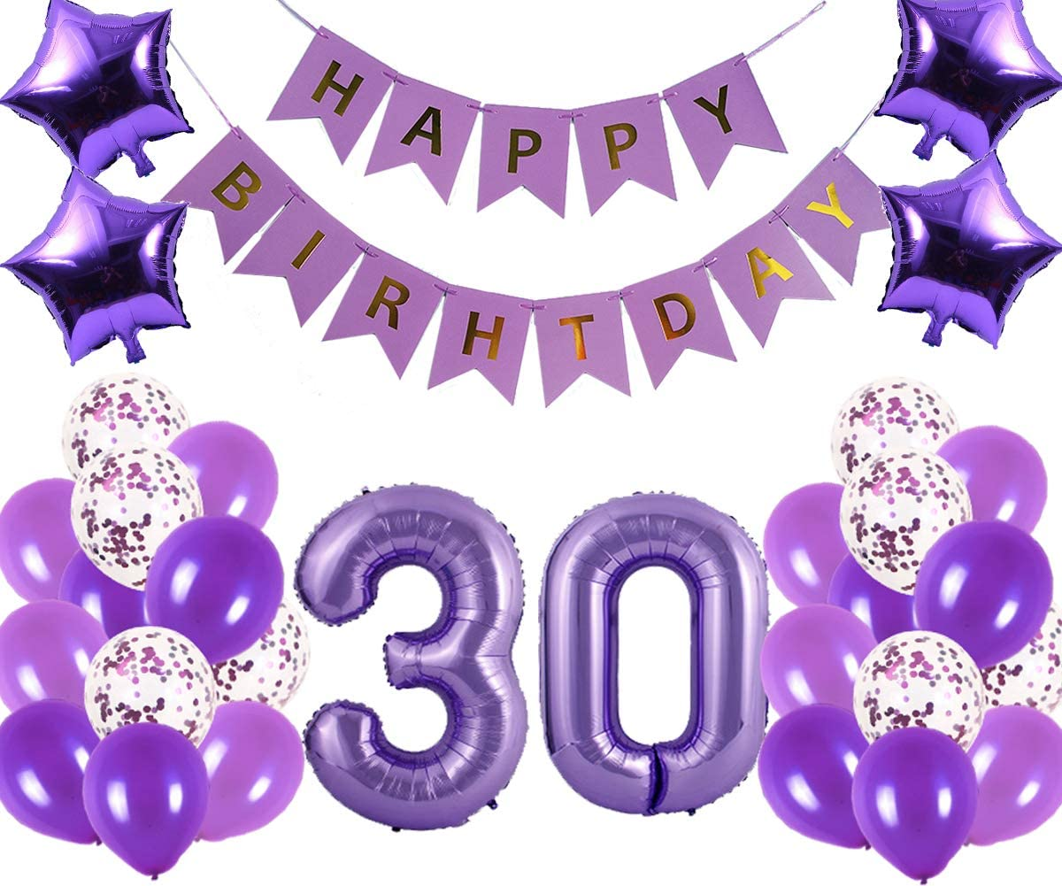 30th Birthday Party Decorations Kit Happy Birthday Banner With Number 30 Birthday Balloons For Birthday Party Supplies 30th Purple Birthday Party Pack Walmart Com Walmart Com
