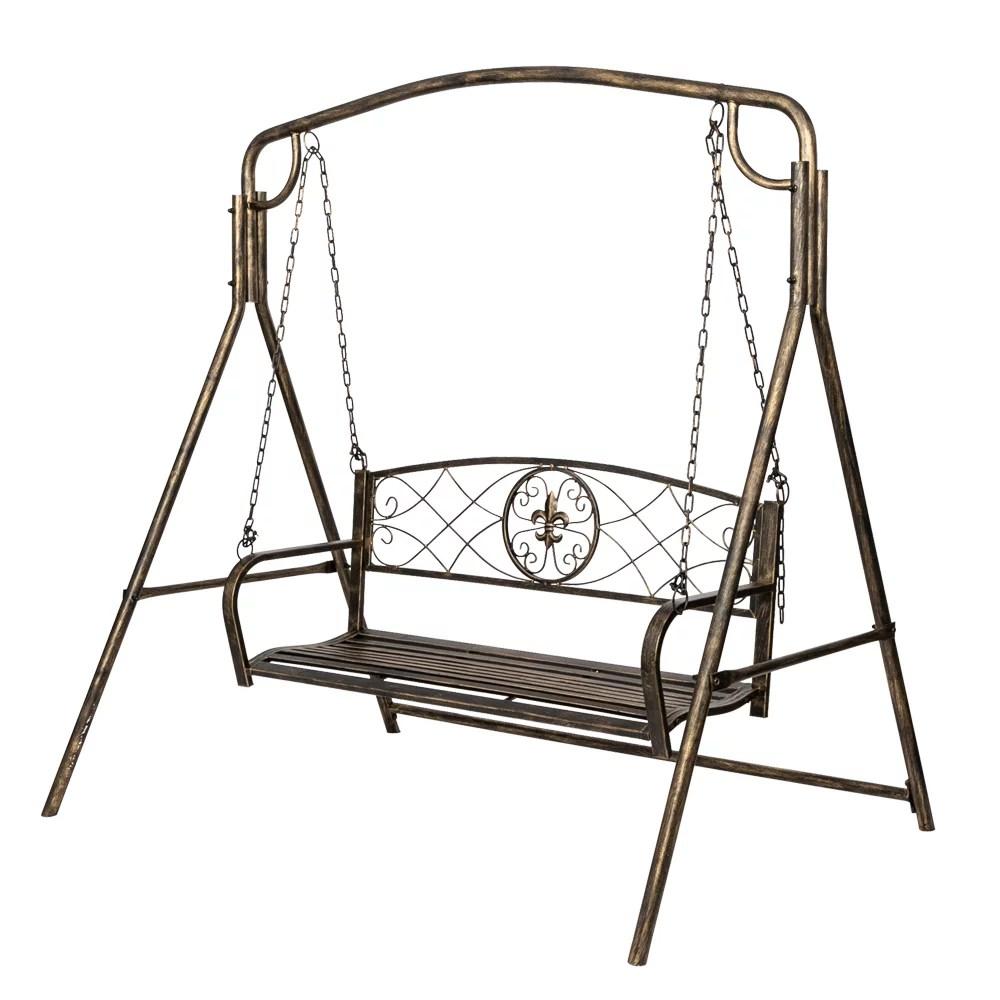 rustic bronze finish metal swing frame