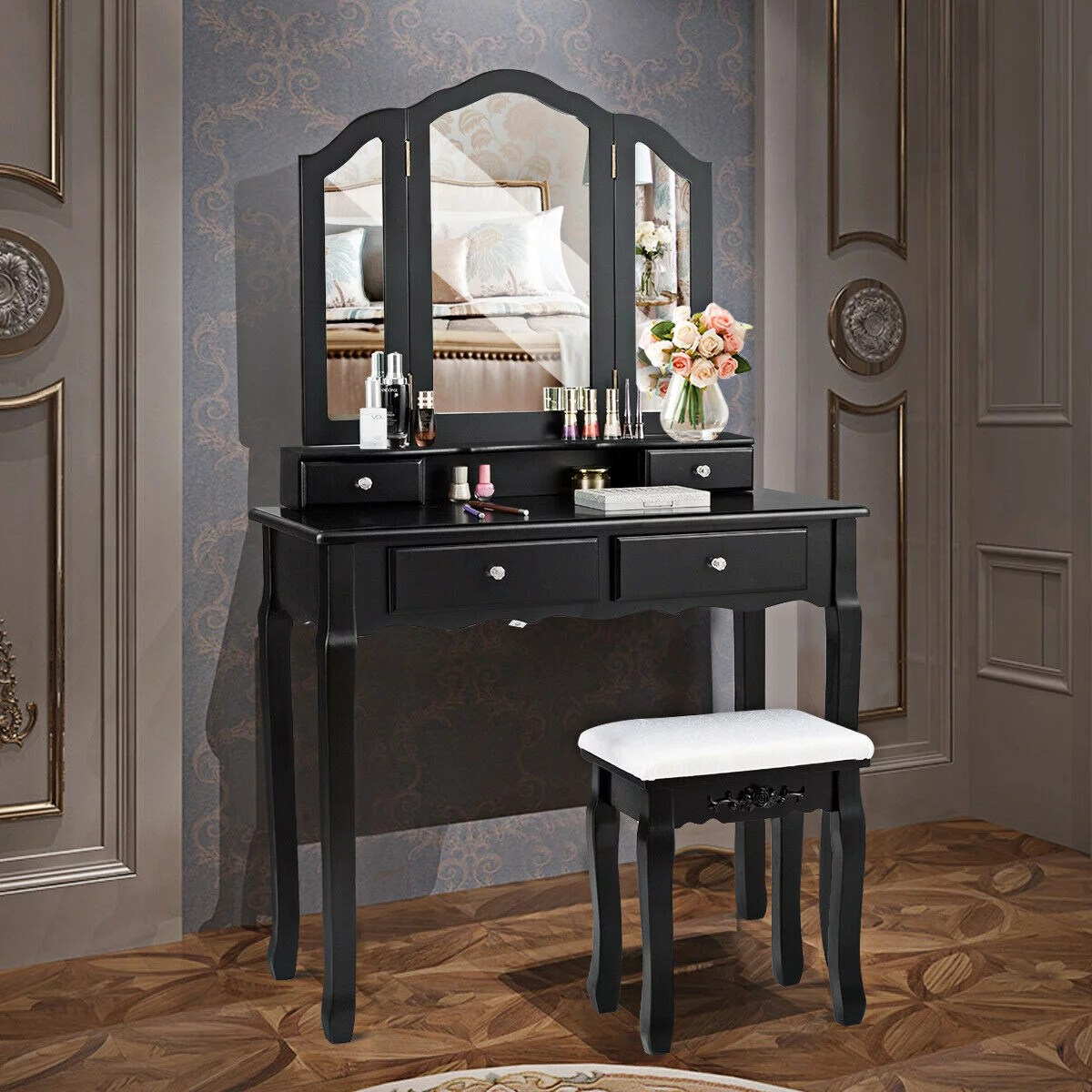 gymax bedroom tri folding mirror vanity makeup table stool set black