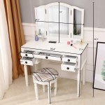 Vanity Set With Tri Folding Mirror And Cushioned Stool Girls Vanity Table With Mirror And Bench Upgrade Dressing Table Makeup Table Writing Desk With 5 Drawers Makeup Vanity Set For Women Q7750
