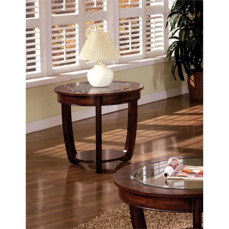 furniture of america tunton wood round end table in dark cherry walmart com