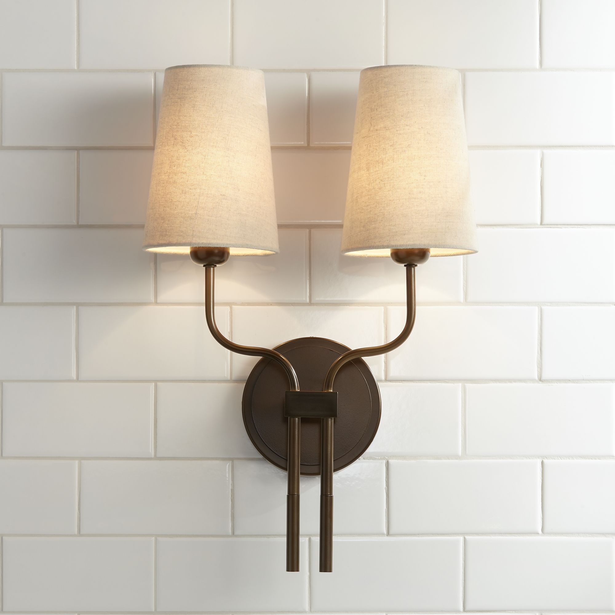 possini euro design modern wall sconce lighting bronze hardwired 19 1 2 high 2 light fixture oatmeal fabric for bedroom bathroom walmart com