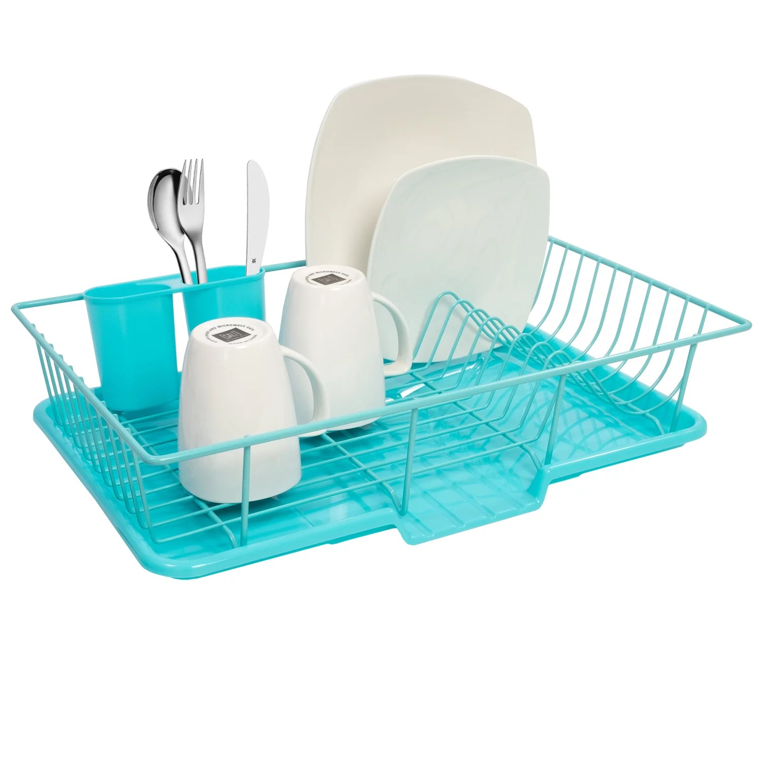sweet home collection 3 piece kitchen sink dish drainer set turquoise