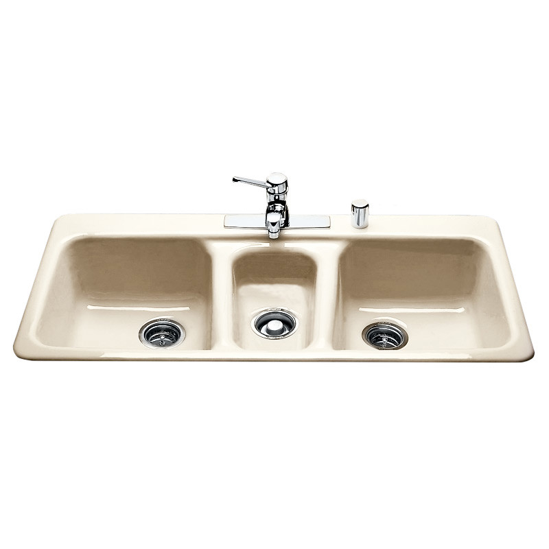 miseno mci97 4tm 43 4 hole cast iron triple basin kitchen sink for drop in installations