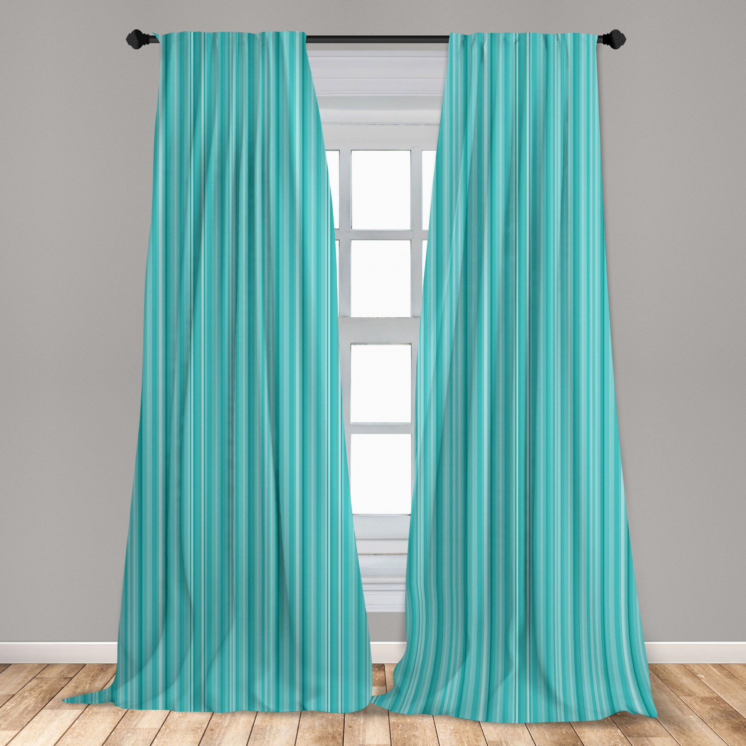 aqua curtains 2 panels set abstract ocean inspired palette lines geometrical image window drapes for living room bedroom turquoise pale blue by