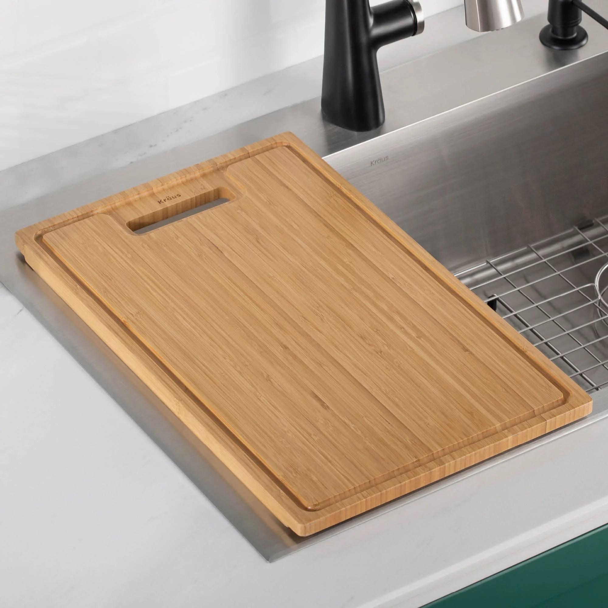 kraus organic solid bamboo cutting board for kitchen sink 19 5 x 12 walmart com