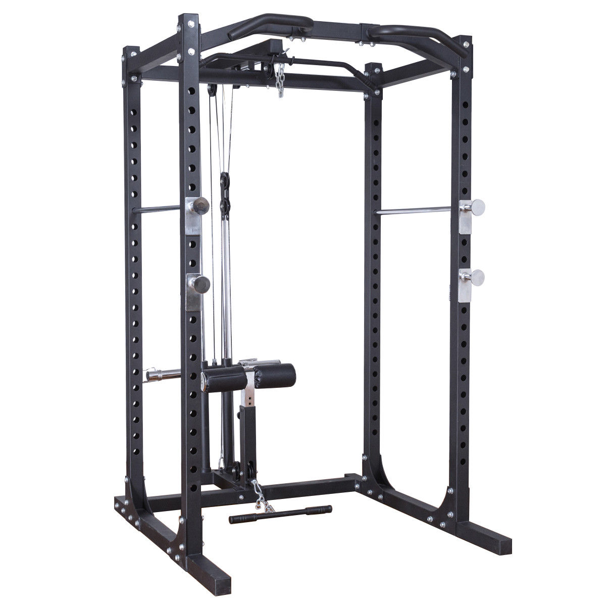 gymax fitness power rack w lat pull attachment weight holder exercise station