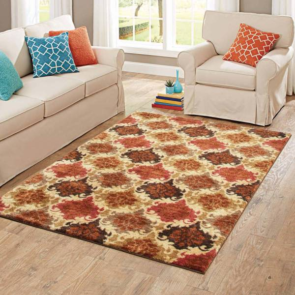 Better Homes and Gardens Spice Damask Nylon Area Rug  5  x 7     Better Homes and Gardens Spice Damask Nylon Area Rug  5  x 7    Walmart com