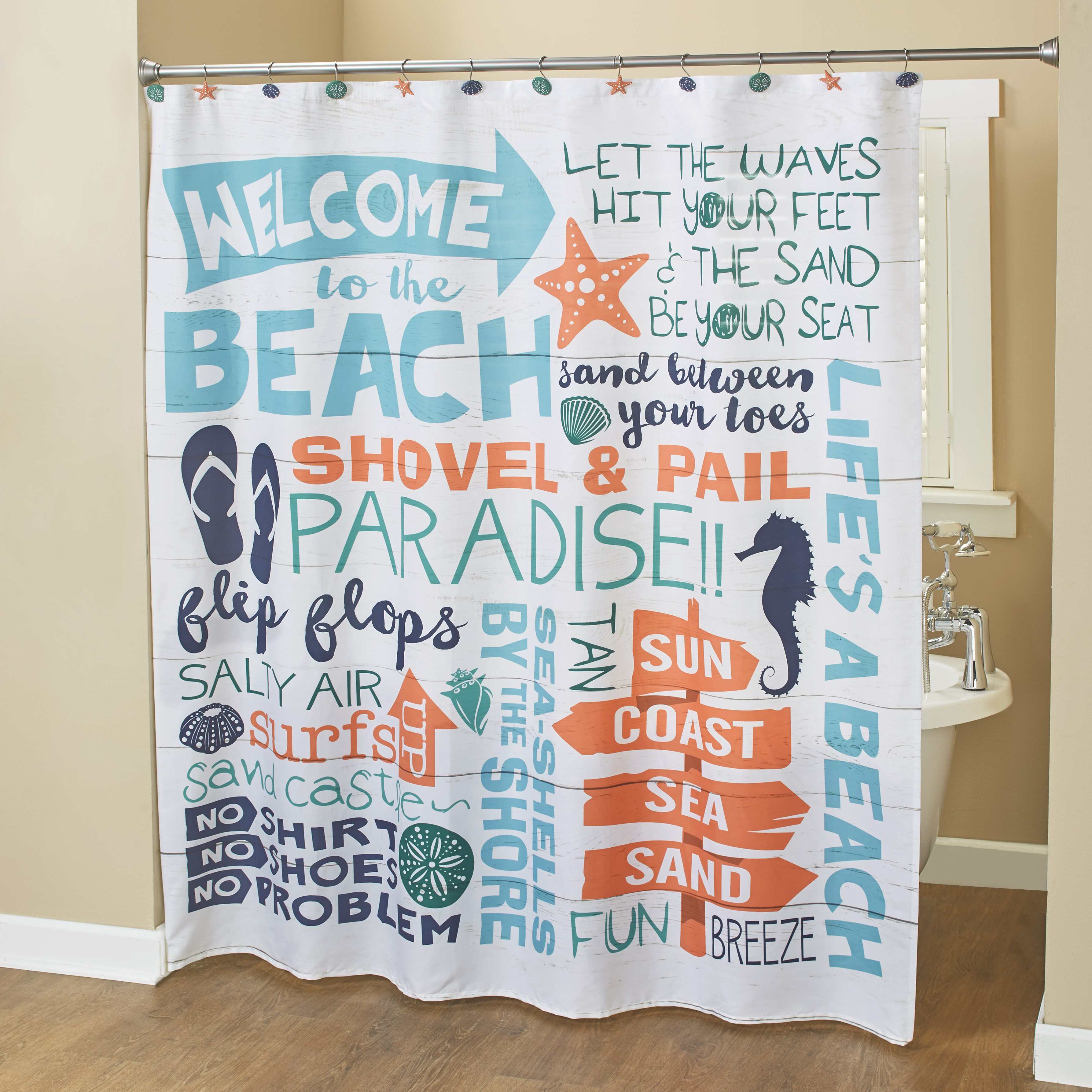 welcome to the beach fabric shower curtain with coastal sentiments and icons