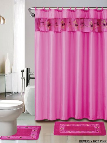 4 piece luxury embroidered bath rug set 3 piece hot pink bathroom rugs with fabric shower curtain and matching rings