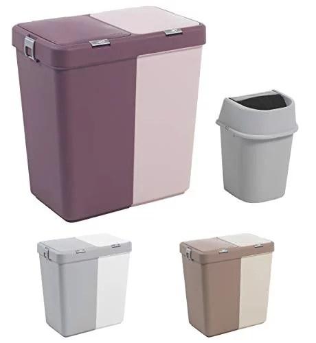 Mabel Home Plastic Laundry Hamper With Lid 2 Sections Large Laundry Basket Extra Trash Bin 1 6 Gallons Inc Purple Pink Walmart Com Walmart Com