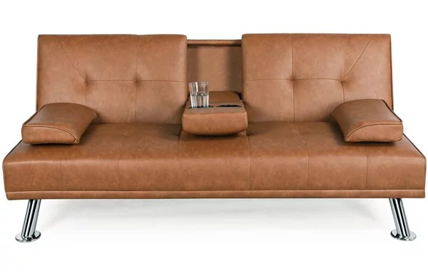 luxurygoods modern faux leather reclining futon with cupholders and pillows brown