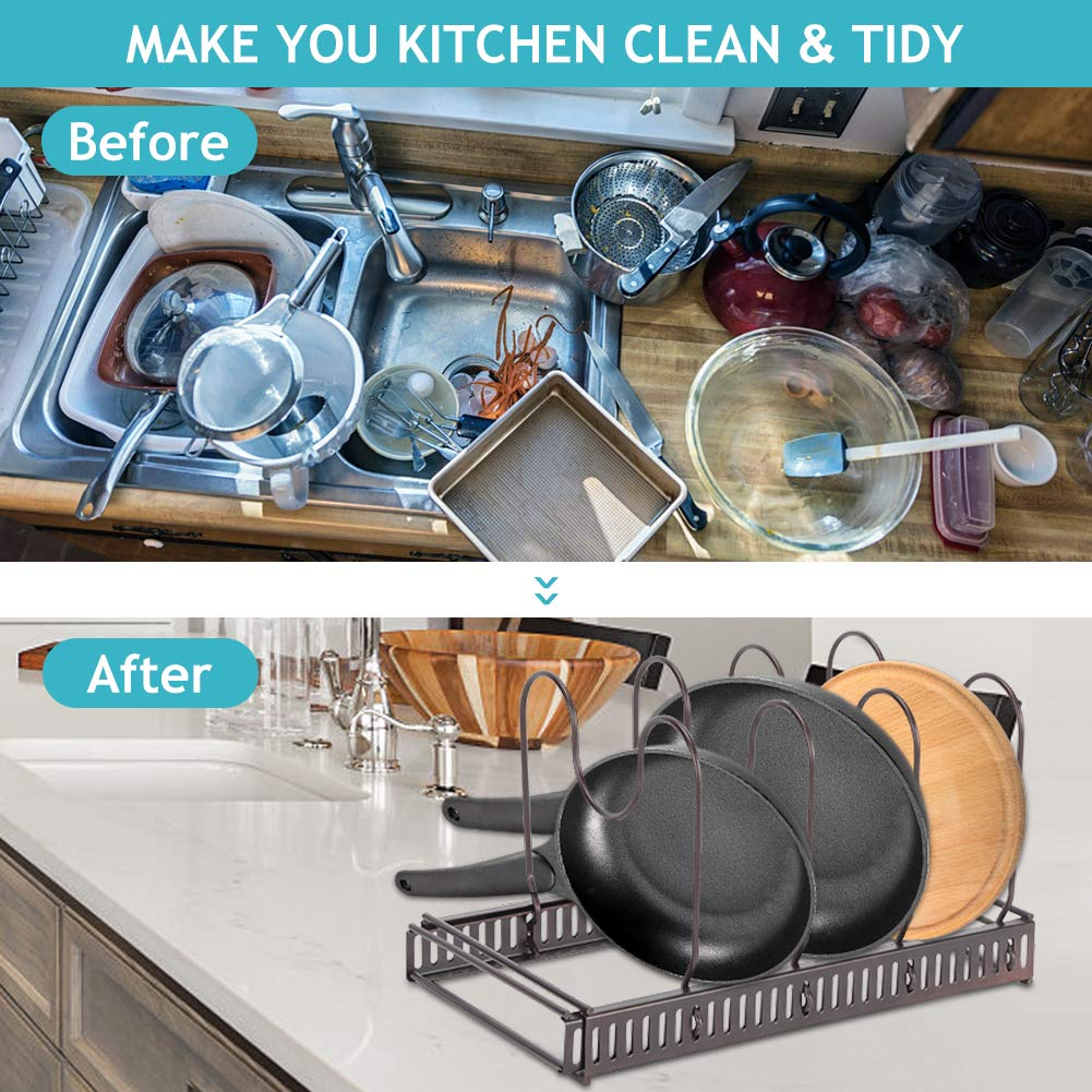 adjustable pot pan lid organizer rack