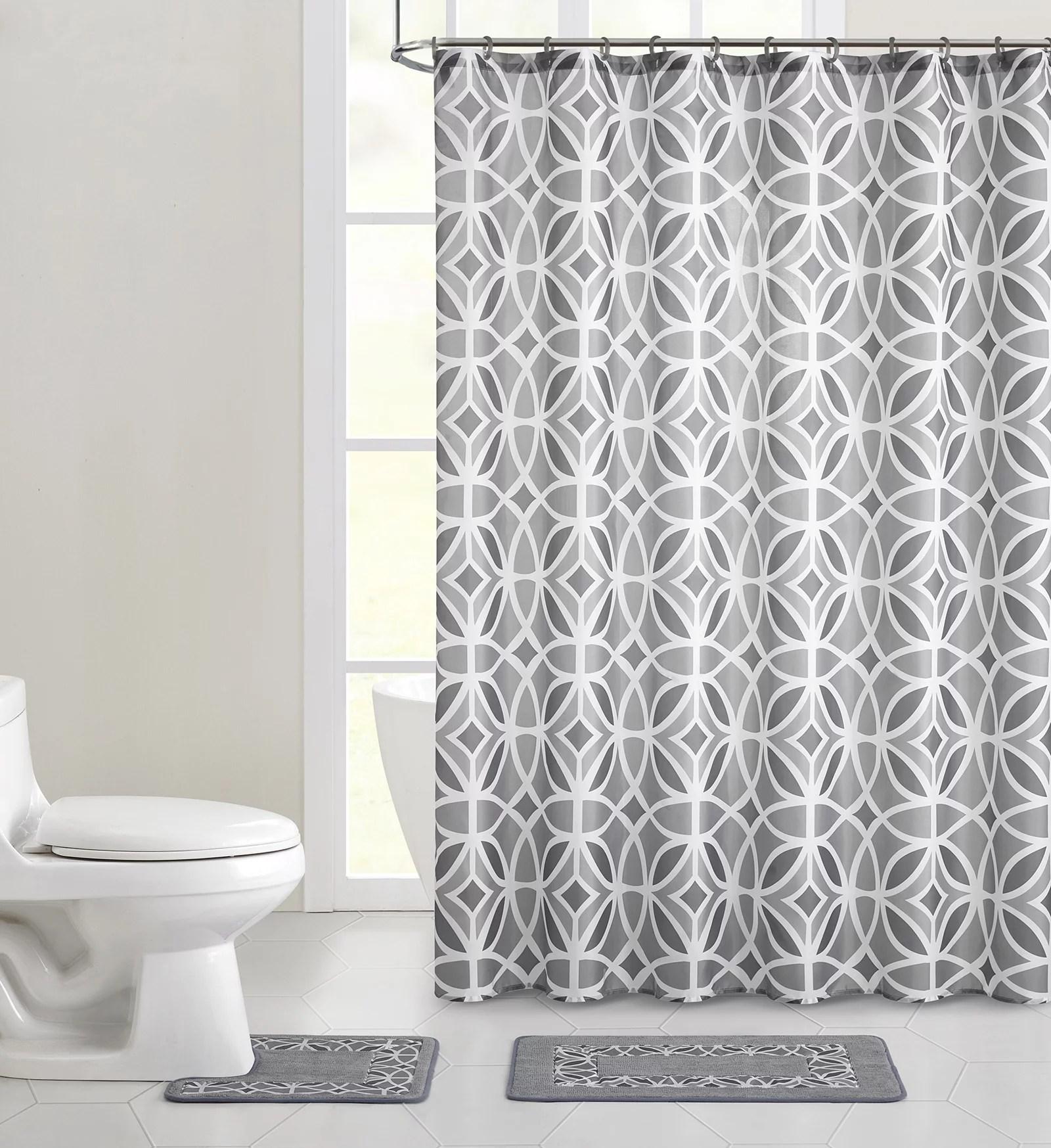 mainstays aster geometric polyester shower curtain bath set grey 15 pieces