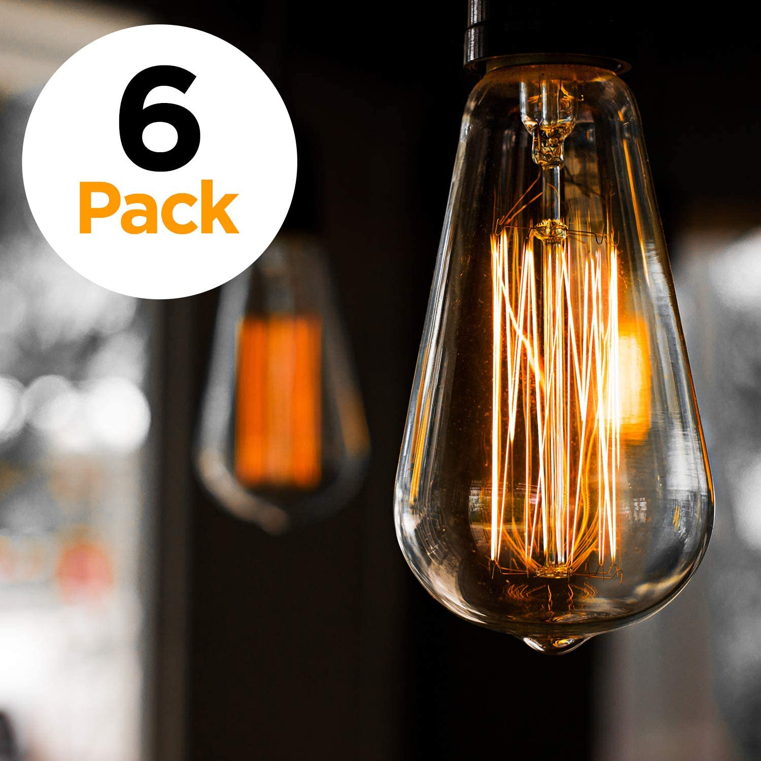 6 pack edison light bulb antique vintage style light amber warm dimmable 60w 110v