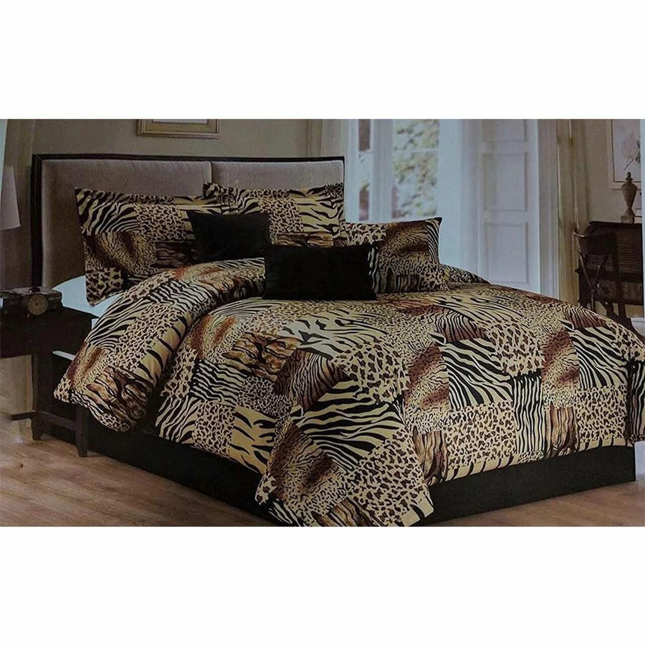 5 pc multi animal print black brown tan and charcoal grey microfur comforter set walmart com