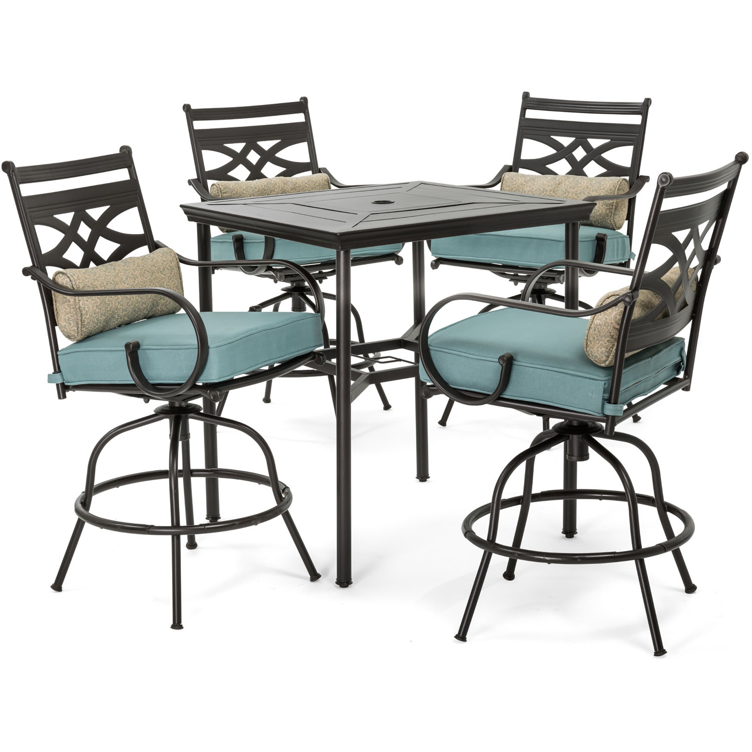 hanover montclair 5 piece high dining patio set in ocean blue with 4 swivel chairs and a 33 in counter height dining table