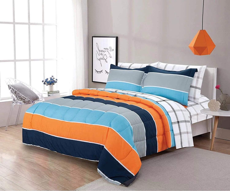 sapphire home 7 piece full size comforter set bed in bag with shams sheet set plaid design blue orange gray stripes print multicolor boys kids girls