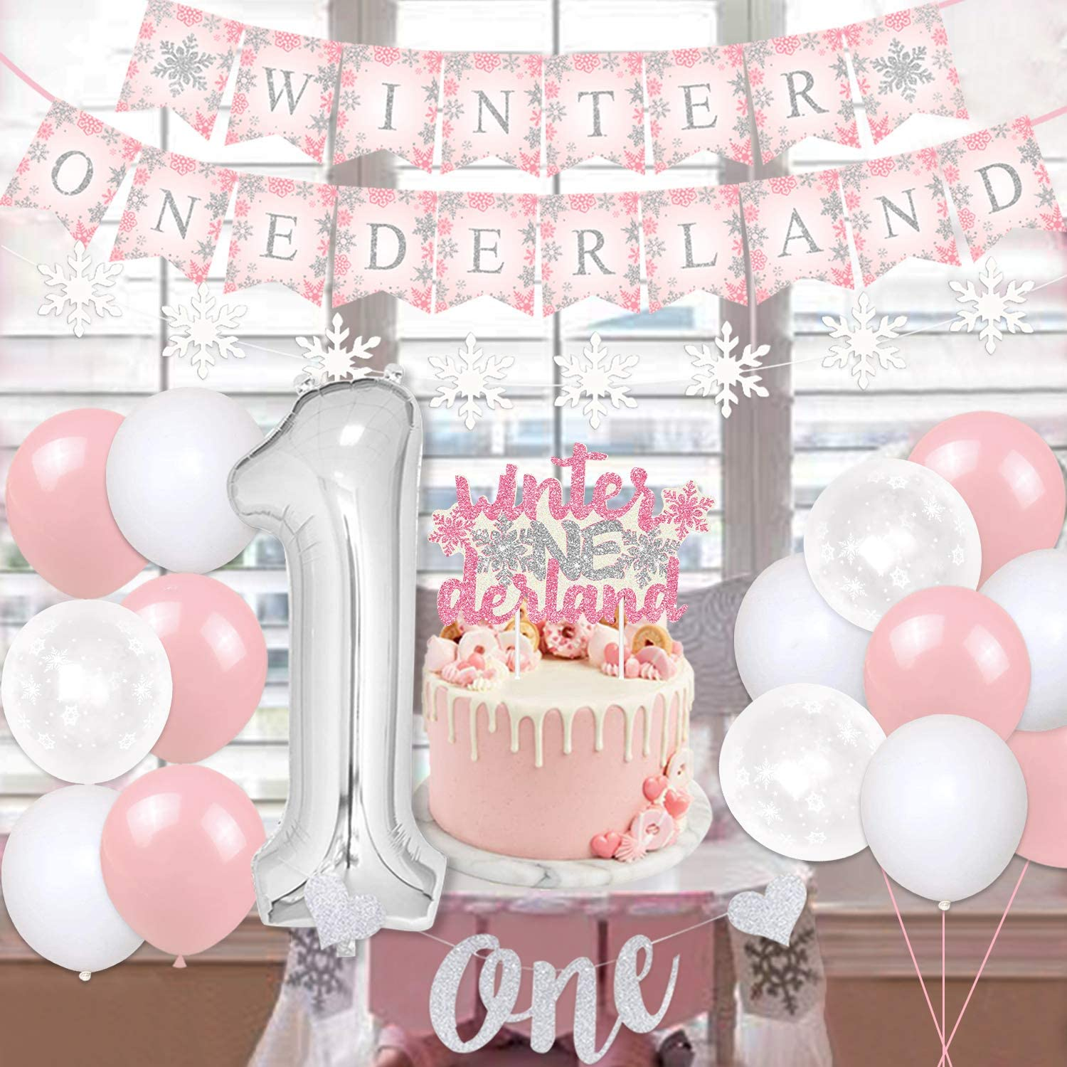 Winter Onederland 1st Birthday Decorations Winter Wonderland 1st Birthday Party Decorations For Girl Pink Snowflake Themed Party Supplies Onederland Banner Cake Topper Walmart Canada