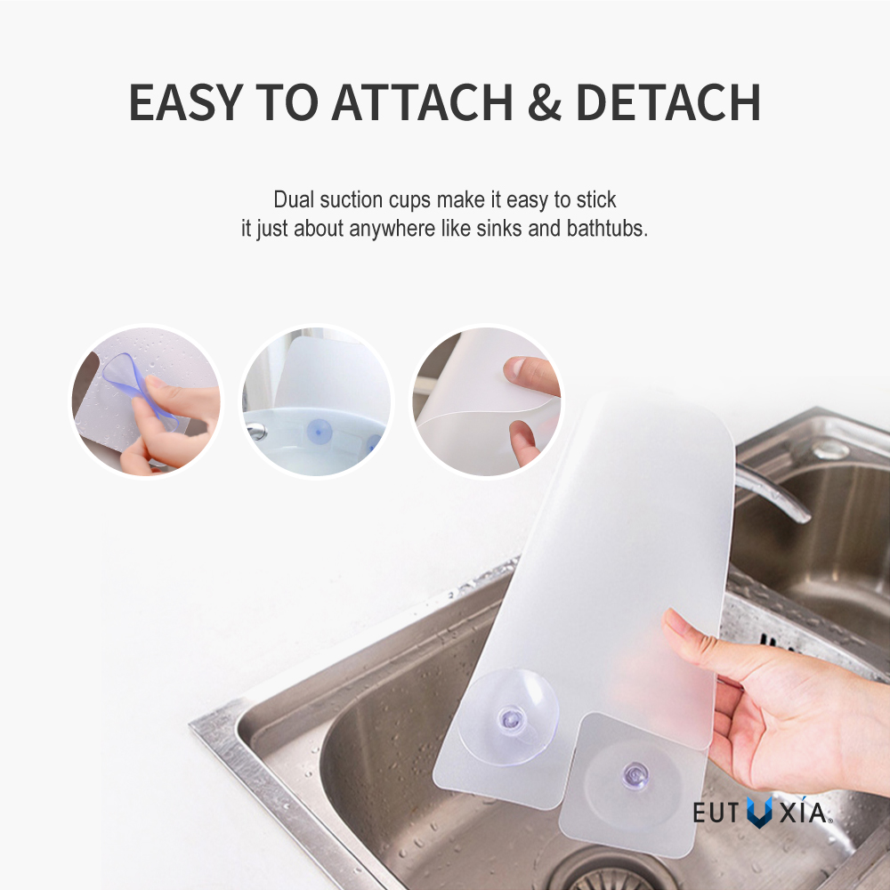 eutuxia silicone sink water splash guard w suction cups for kitchen bathroom protect yourself from splatter wet floor universal for standard