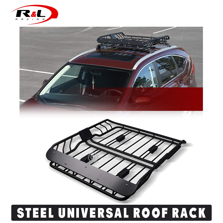 r l racing universal black modular roof rack basket travel storage steel carrier holder fairing