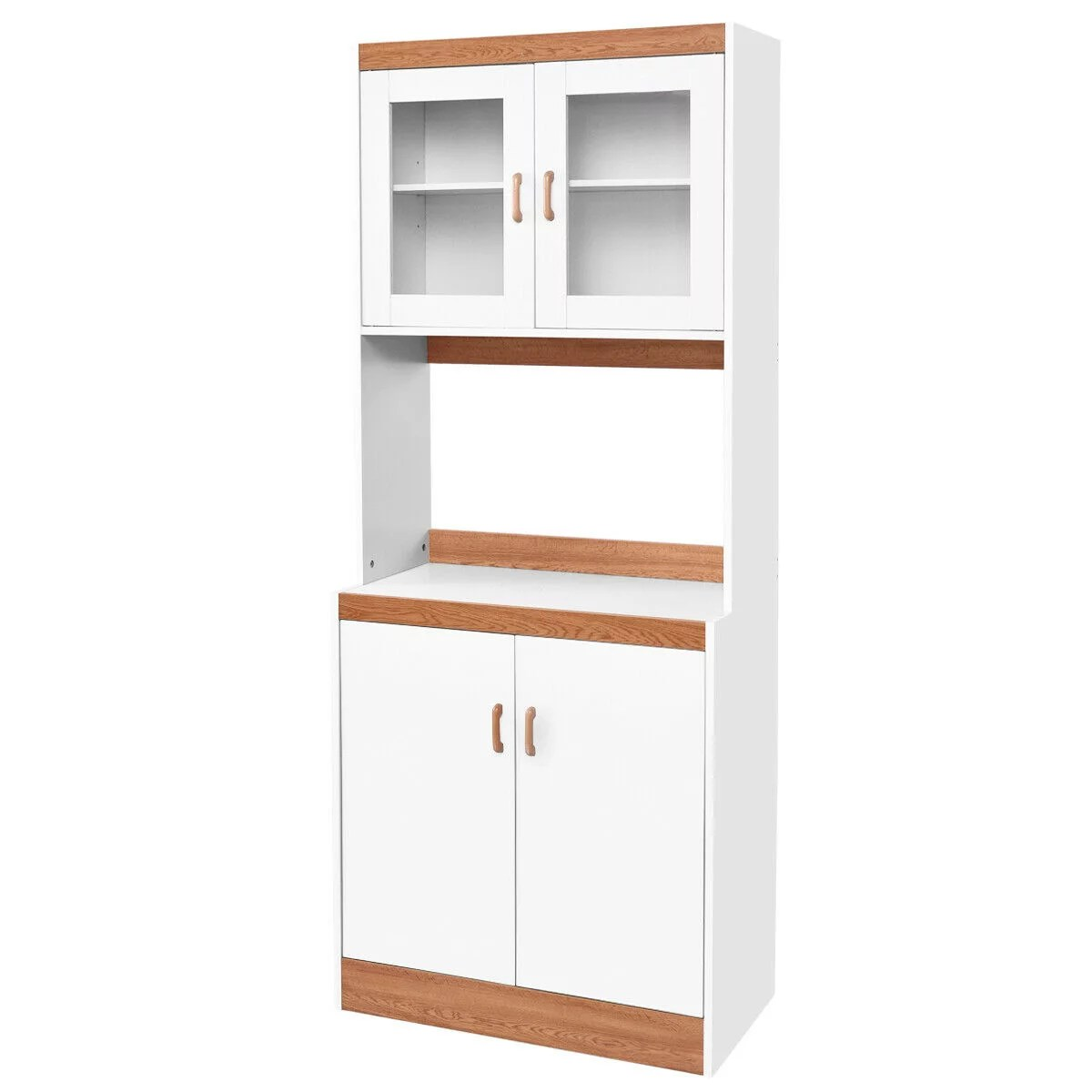 gymax tall microwave cart stand kitchen storage cabinet shelves pantry cupboard white walmart com