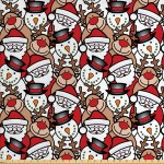 Christmas Fabric By The Yard Snowman Reindeer Santa Claus Cartoon Image Theme Winter Decorative Fabric For Upholstery And Home Accents By Ambesonne Walmart Com Walmart Com