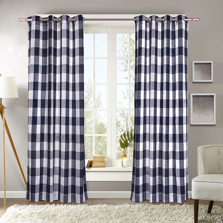 decotex 2 piece plaid courtyard buffalo checkered grommet top window curtain panel drapes 2 panels 53 x 63 navy blue beige walmart com