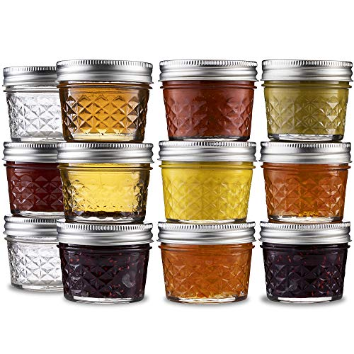 ball mini quilted crystal jelly jars 4 oz 12 pack regular mouth mason jars with airtight lids and bands for canning preserving jams favors diy