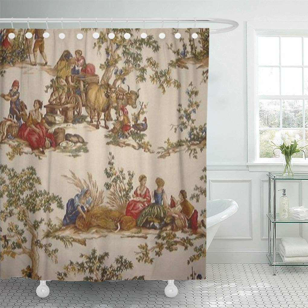 suttom vintage french country toile mojo reversible shower curtain 66x72 inch walmart com