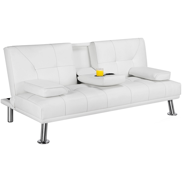luxurygoods modern faux leather reclining futon with cupholders and pillows white