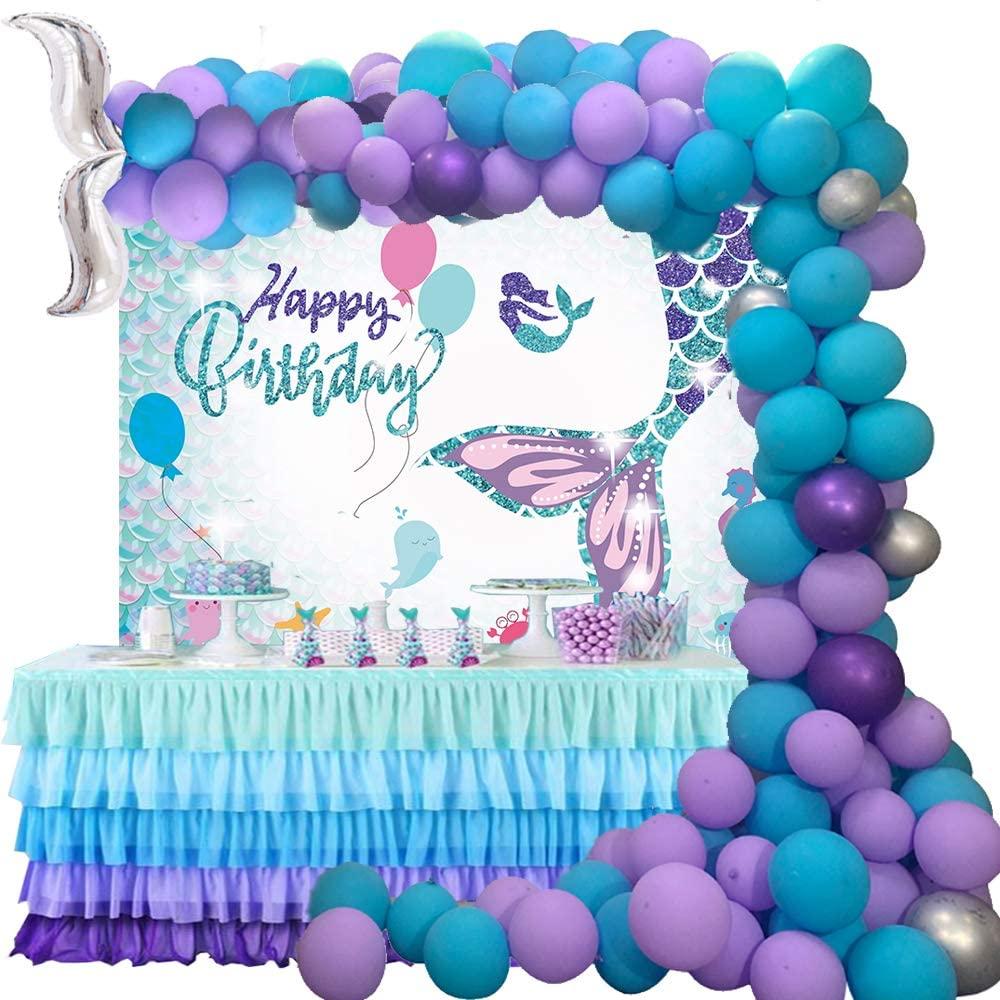 Mermaid Birthday Party Decorations 114pcs Balloon And Mermaid Tail Background Banner Little Mermaid Party Supplies For Birthday Party Baby Girl Backdrop Wall Room Decor Walmart Com Walmart Com