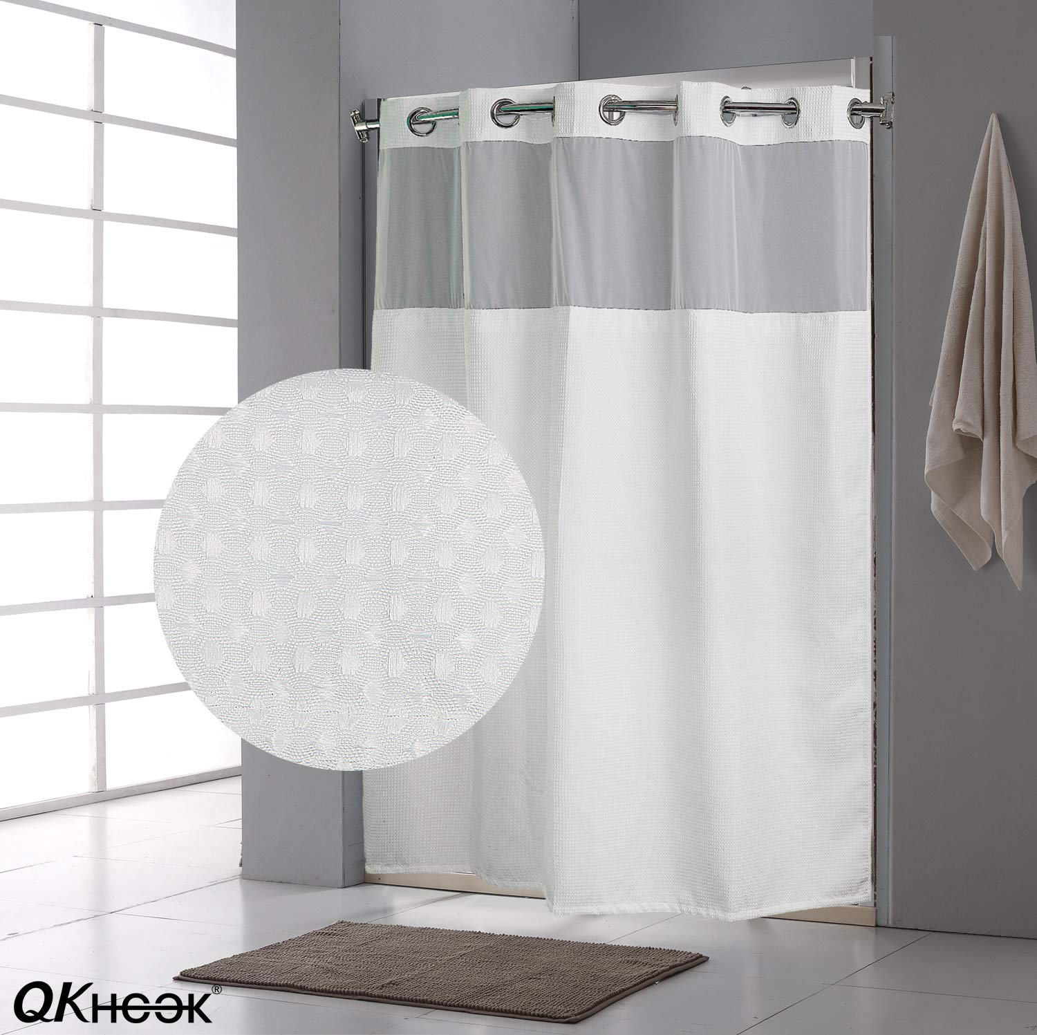 qkhook hookless shower curtain with snap in liner 1 pack 71x74 inches mildew resistant fabric waffle water repellent and antibacterial