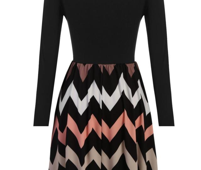 Womens Mutil Wave Striped Boho Chervon Long Sleeve Mini Dress Eclnk Walmart Com