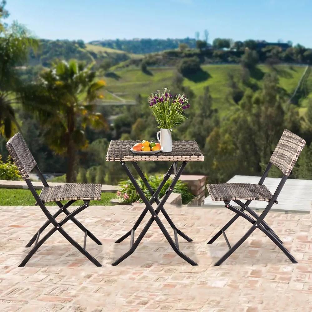 folding patio table set yofe 3 piece outdoor bistro table set foldable patio table and chairs rattan outdoor indoor patio furniture sets bistro