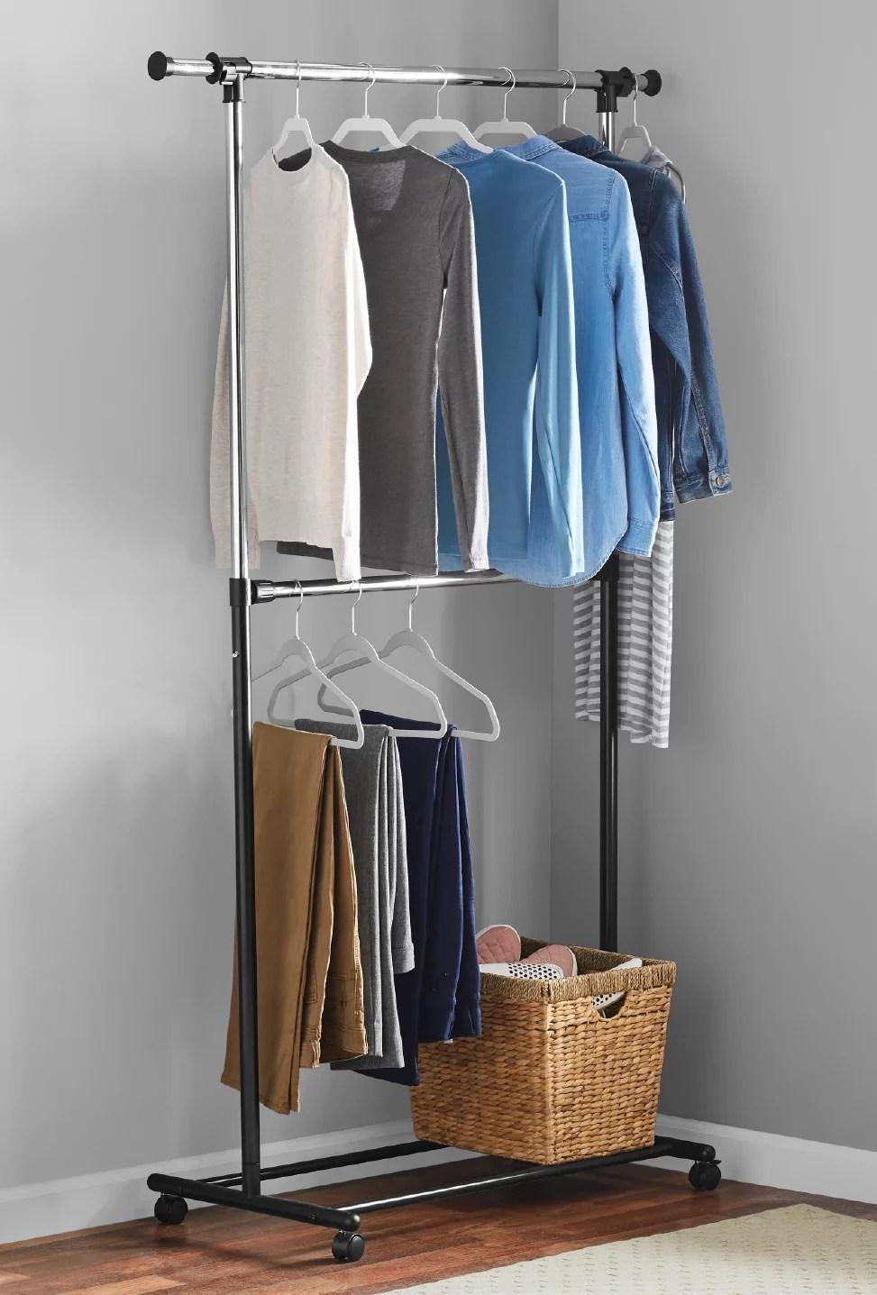 mainstays 2 tier chrome adjustable garment rack