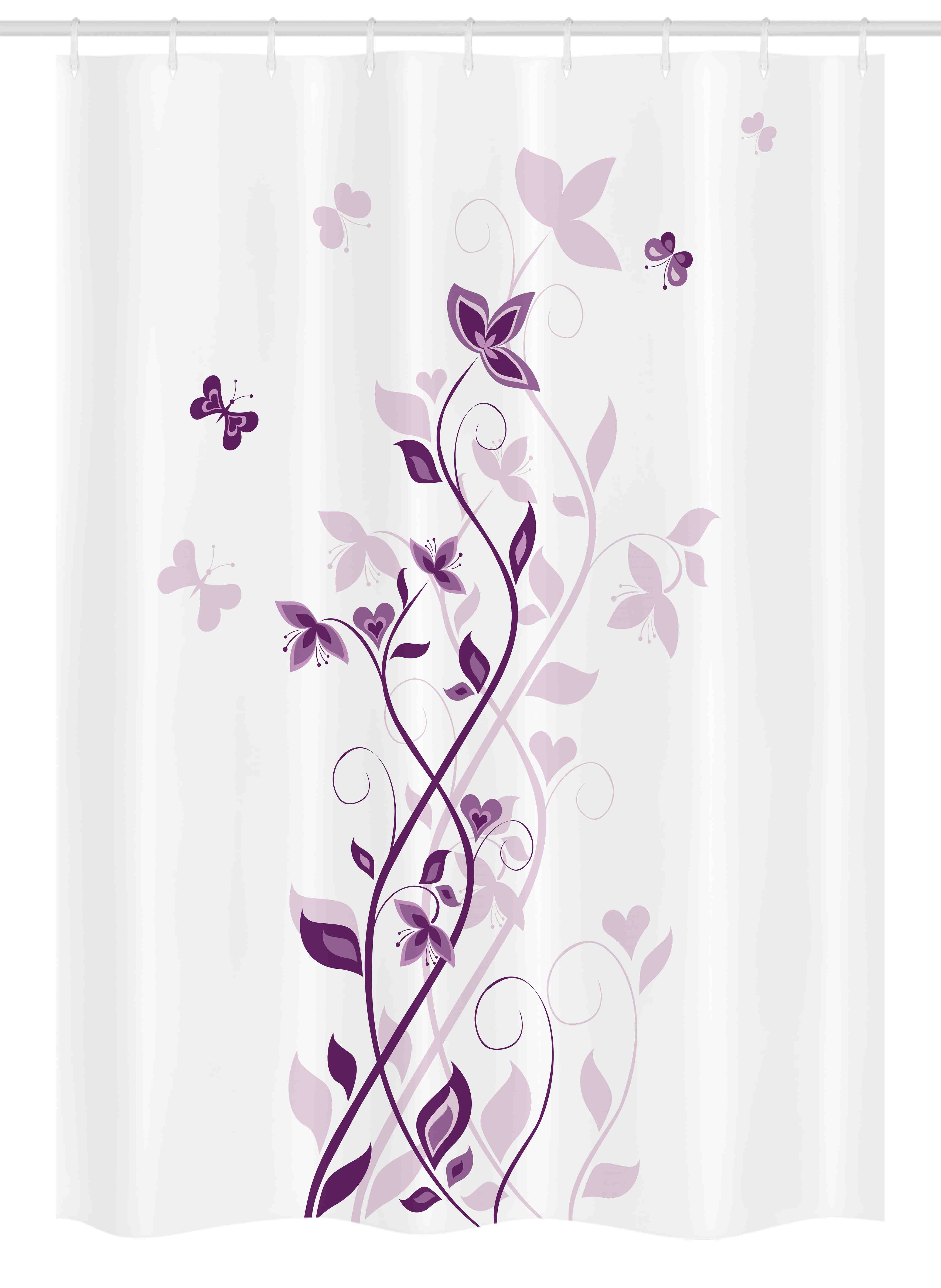 purple stall shower curtain violet tree swirling persian lilac blooms with butterfly ornamental plant graphic fabric bathroom set with hooks 54w x
