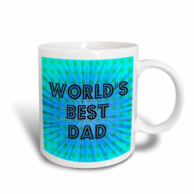 3dRose Worlds Best Dad Stars - Fathers Day - Art, Ceramic Mug, 11-ounce