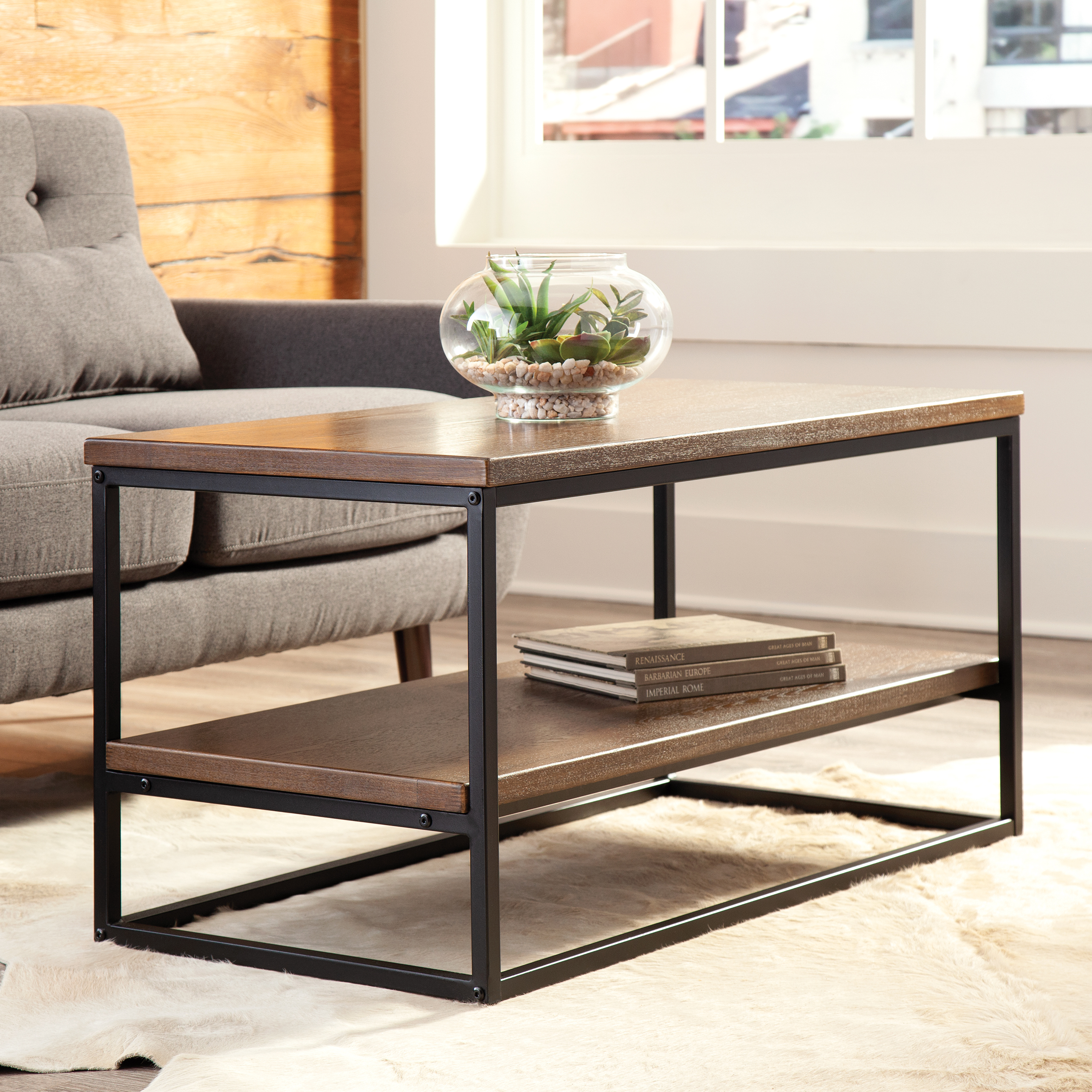 ofm industrial modern wood top metal frame coffee table with wood shelf walmart com