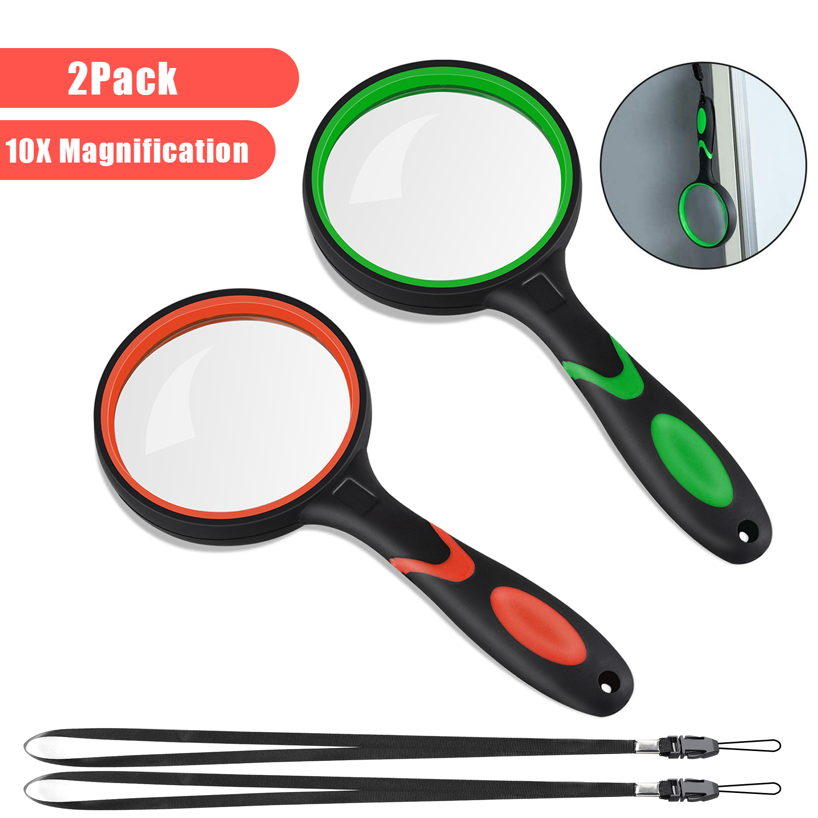 2 Piece Magnifying Glass 10x Handheld Reading Magnifier
