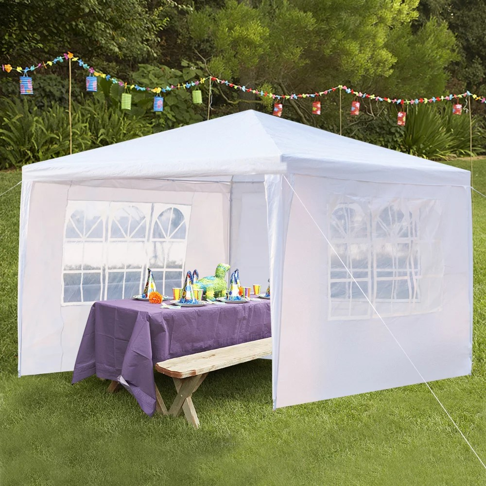 10 x 10 canopy tent with 3 side walls white patio gazebos tent outdoor party wedding tent 2021 upgraded waterproof gazebo tent for outside