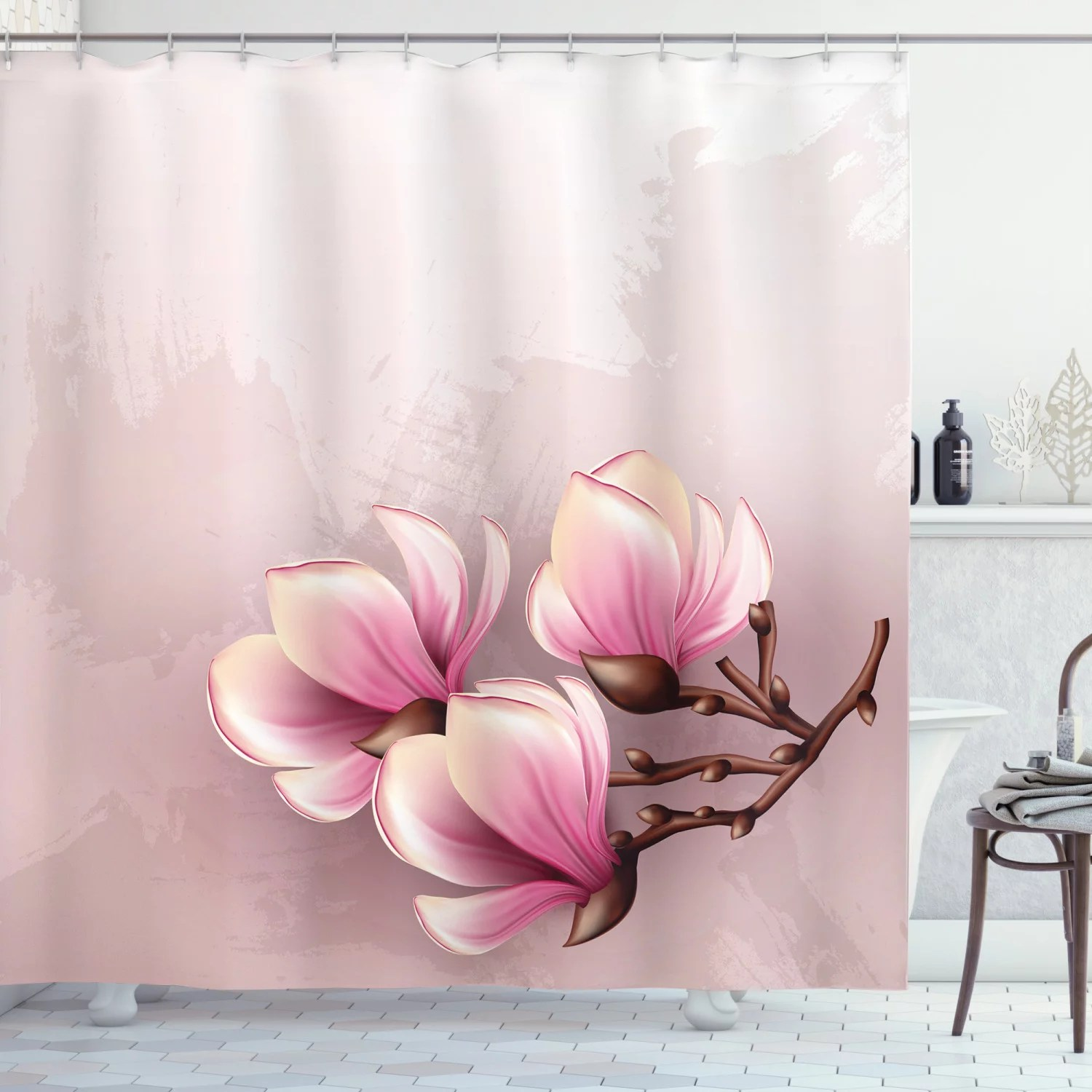 magnolia shower curtain fragile petals of magnolia flower bloom on brush stroked background fabric bathroom set with hooks 69w x 75l inches long