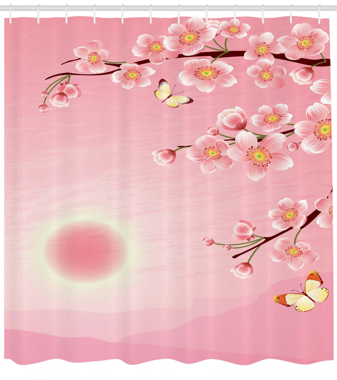 Asian Shower Curtain Cherry Blossom Tree With Sun Scenery On Backside Spring Days Butterfly Nature Print Fabric Bathroom Set With Hooks Pink