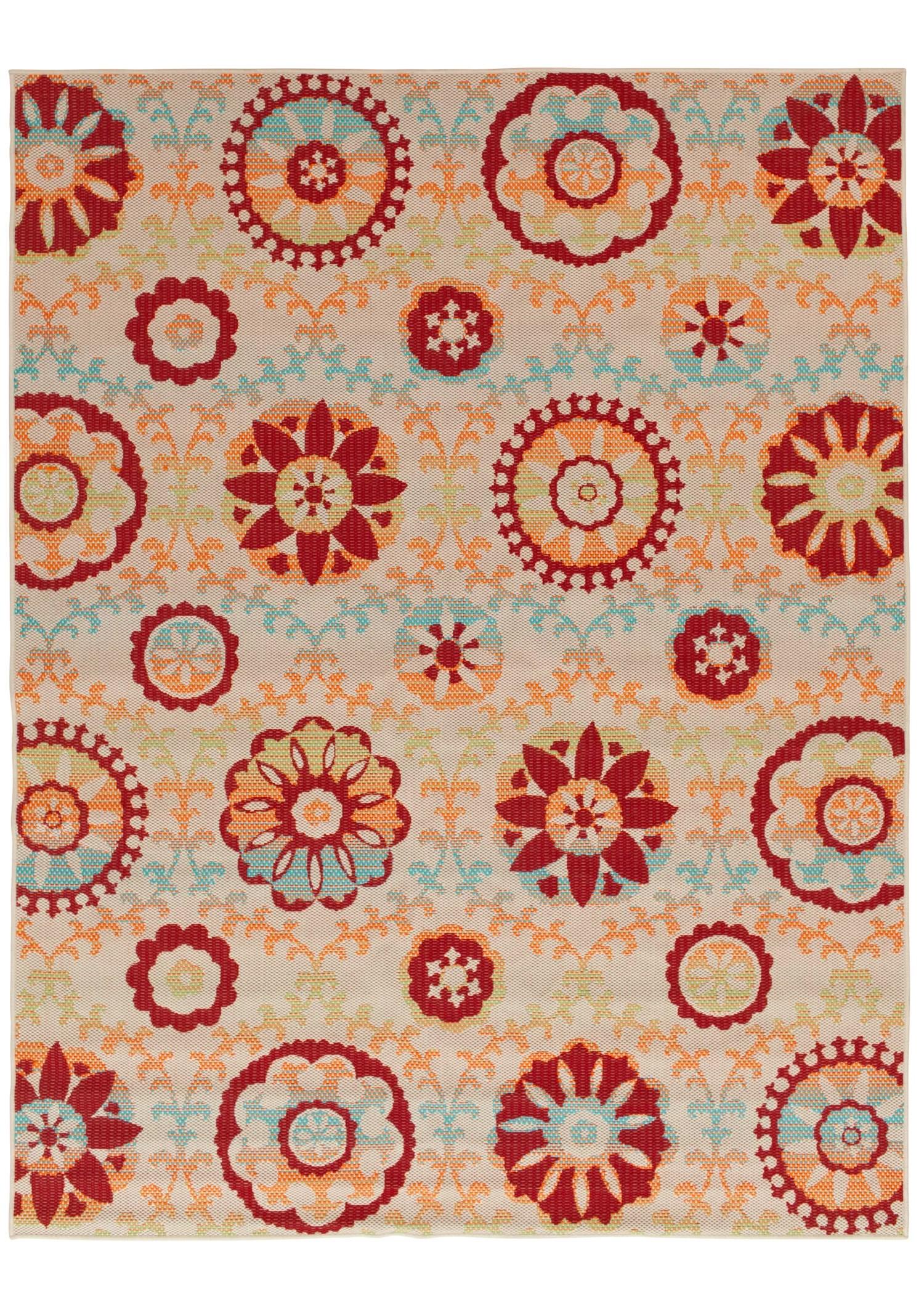 mainstays 7 2 x10 multi color floral medallion indoor outdoor area rug