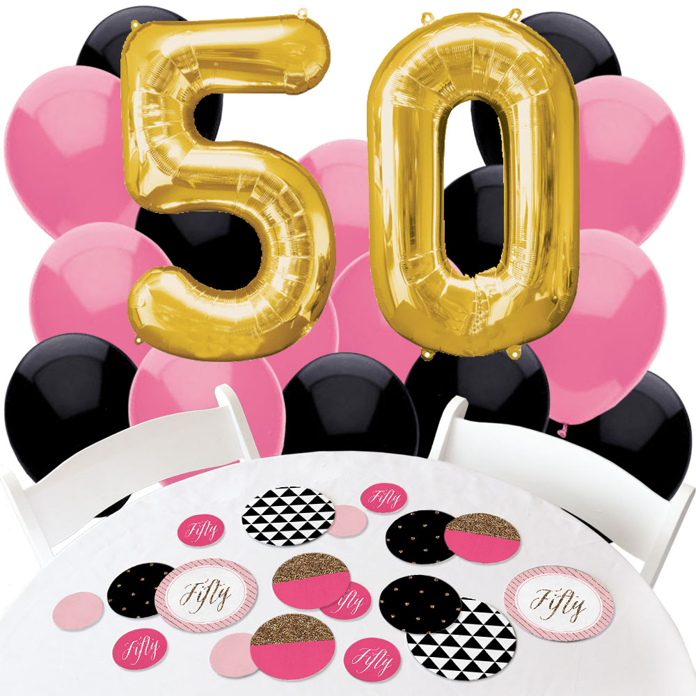 6 X Gold Pink Chic 50th Latex Balloons Ladies 50 Birthday Party Decoration Party Supplies Home Garden