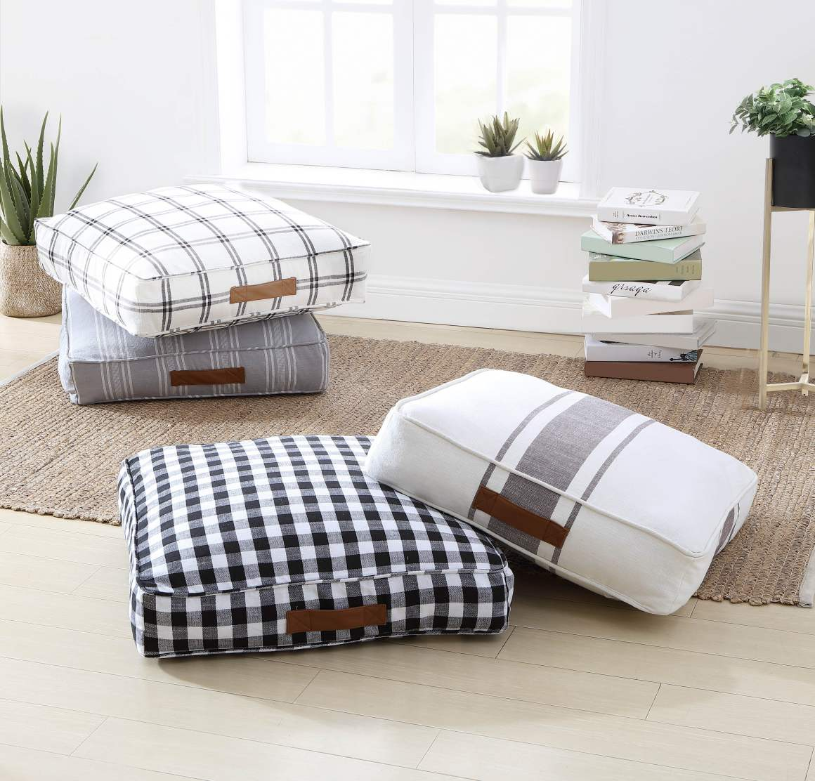 """Better Homes & Gardens Yarn Dyed Floor Cushion, 24"""" x 24"""" x 5"""", Black and White Gingham"""